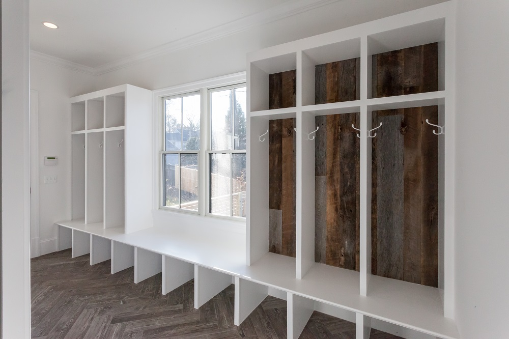 Image of mudroom with wood panels from Sawmill Designs