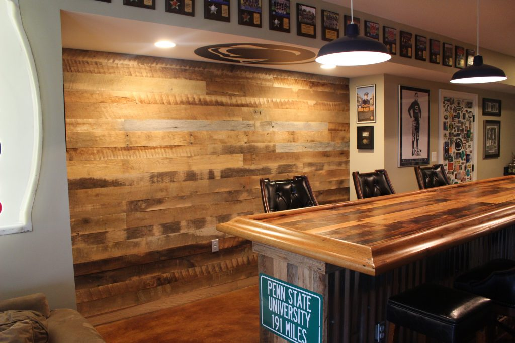 Image of accent wall with reclaimed barn wood