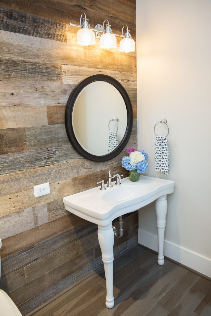 Image of Vanity with Sawmill Designs peel and stick barnboard wall siding