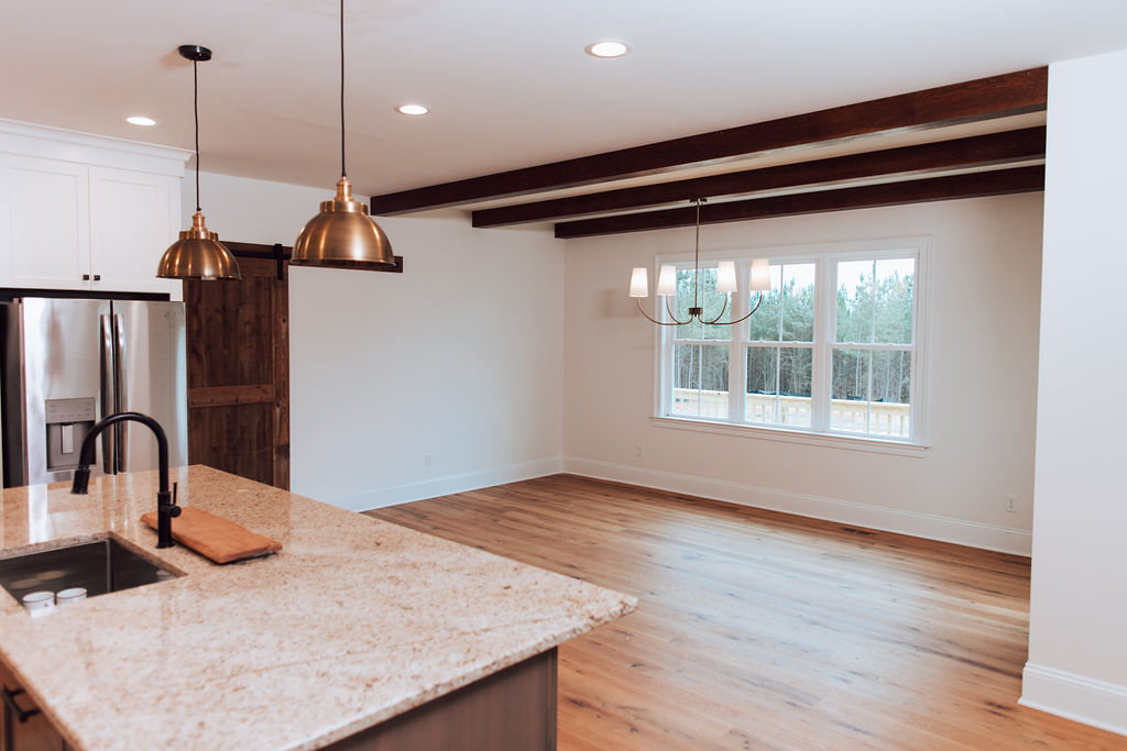 Image of kitchen space after box beams installed