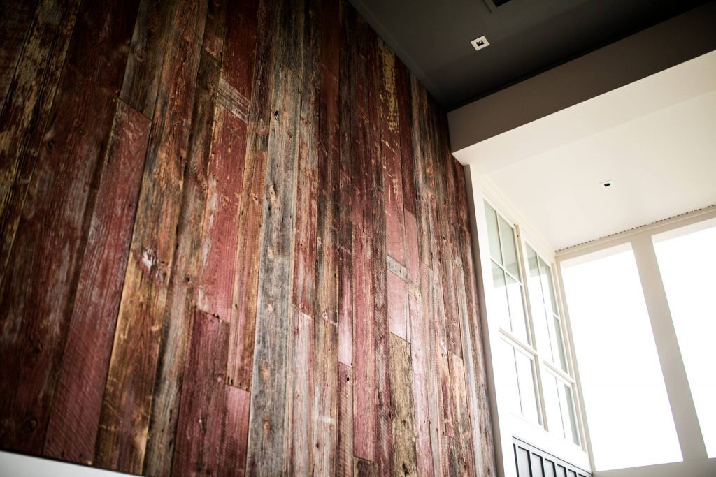 Image of Red Hinted Barn Wood Wall Siding