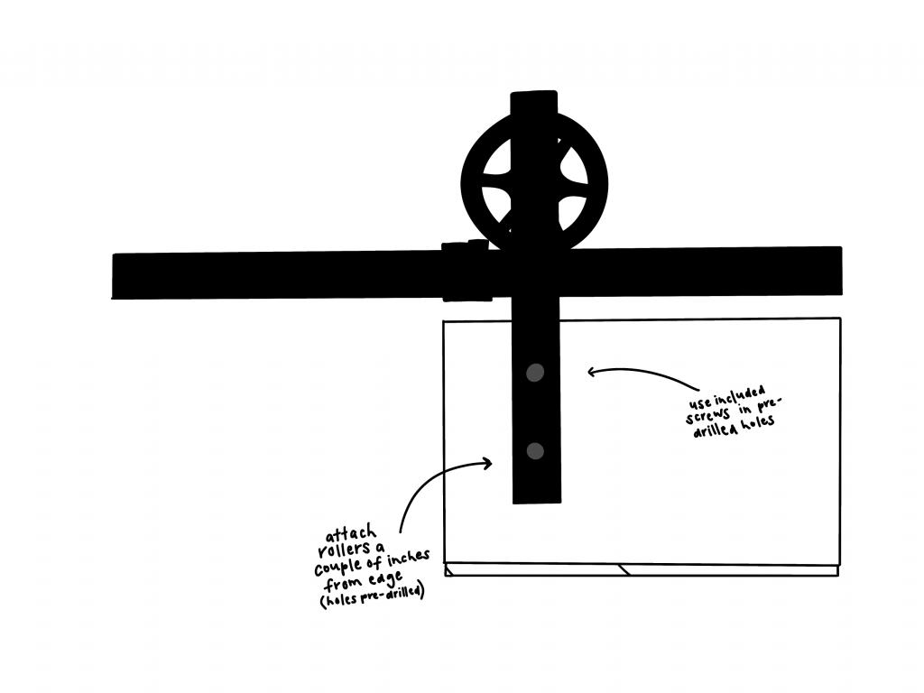 Barn Door Install Illustration from Sawmill Designs