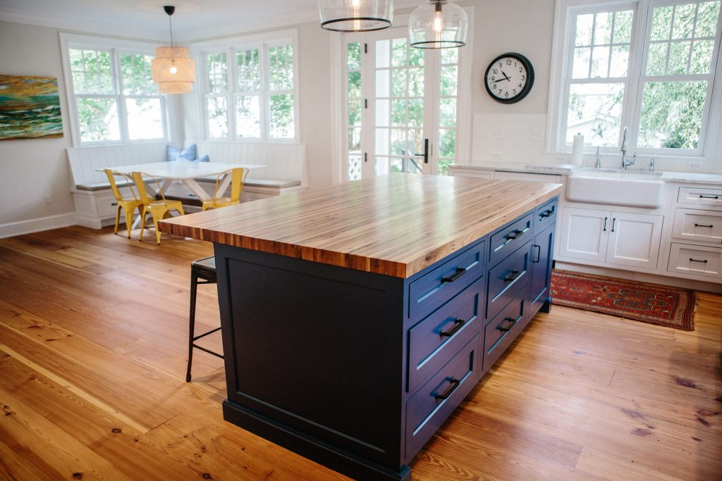 Image of customized kitchen island wood countertop